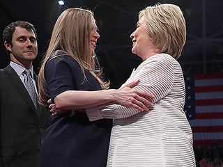 Pregnant Chelsea Clinton Joins Triumphant Mom Hillary Onstage as She Makes History as First Female Nominee