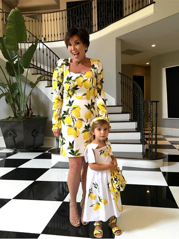 Kris Jenner Penelope Disick Lemon Dresses