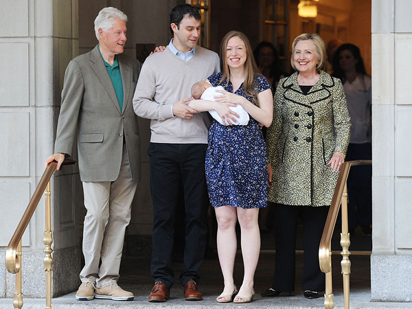Chelsea Clinton Leaves Hospital with Aidan