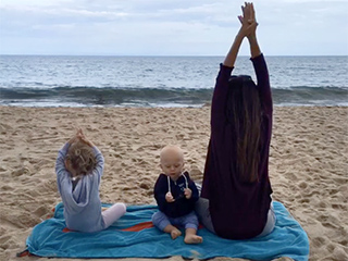 Namaste! Pregnant Hilaria Baldwin and Her Kids Do Yoga on the Beach