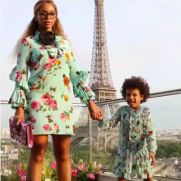 Beyonce and Blue Matching Dresses in Paris