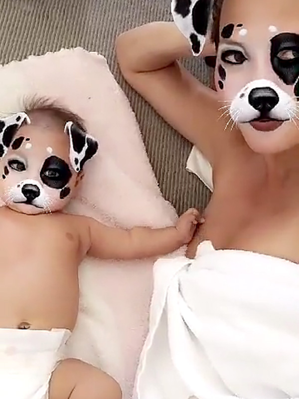Chrissy Teigen Luna Snapchat animal filters 1