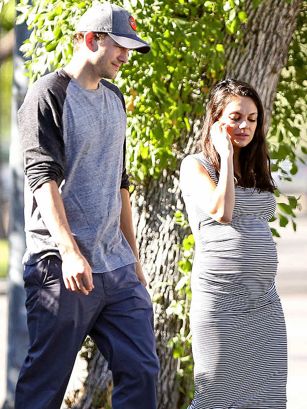 Mila Kunis Baby Bump Striped Dress 1