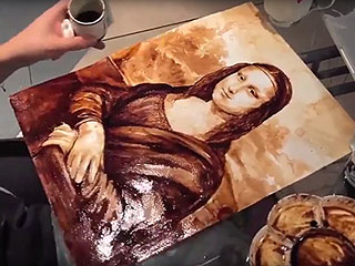 This Woman Painted the Mona Lisa Entirely Out of Coffee — Watch the Time Lapse Video