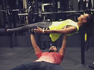 Supermodels Jasmine Tookes and Tobias Sorensen Take Bench Presses to the Next Level with This Couple's Workout