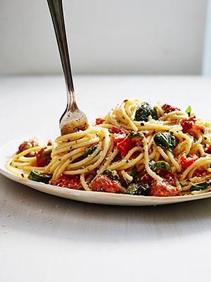 Mario Batali Tomato and Chorizo Spaghetti