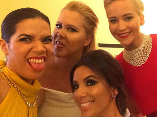 America Ferrera Shares Silly Backstage Selfie with Fellow Golden Globe Presenters Jennifer Lawrence, Amy Schumer & Eva Longoria