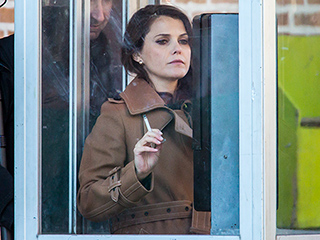 It's All for Show: Pregnant Keri Russell Spotted 'Smoking' on The Americans Set While in Character