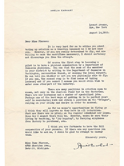 Previously Unpublished Letter Amelia Earhart Penned to Aspiring 13-Year-Old Female Pilot Has Surfaced for Sale| Good Deeds, Real People Stories