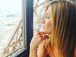 Ma Chérie! Justin Theroux Posts Glowing Valentine's Day Photo of Jennifer Aniston atop Eiffel Tower