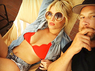 Jessica Simpson Celebrates Valentine's Day in a Tiny Red Bikini and Daisy Dukes