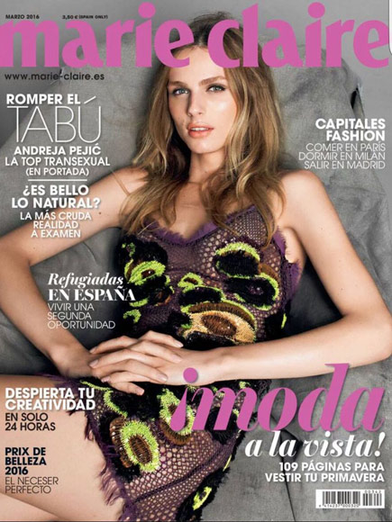 Transgender Model Andreja Pejic Lands Her First Magazine Cover as a Woman with Marie Claire Spain| Bodywatch, Models, Transgender