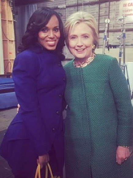 New Gladiator in Town: Hillary Clinton Visits the Set of Scandal| 2016 Presidential Elections, politics, Scandal, TV News, Hillary Rodham Clinton, Kerry Washington, Scott Foley, Tony Goldwyn