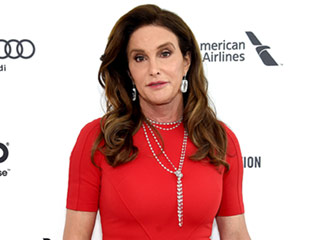 Lady in Red! Caitlyn Jenner Attends Elton John's Oscar Party, Chats with Transparent's Jeffrey Tambor