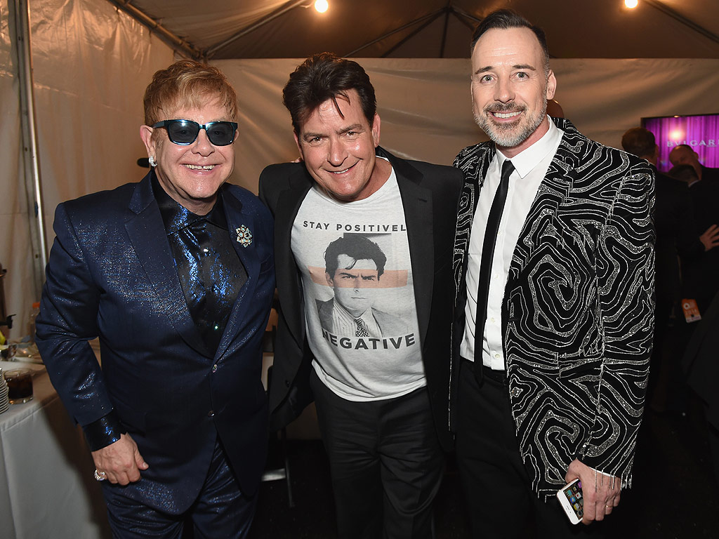 Charlie Sheen Attends Elton John's AIDS Foundation Oscars Party