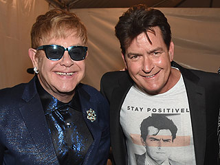 Charlie Sheen Makes Surprise Appearance at Elton John's AIDS Foundation Oscars Party