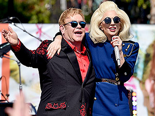 Lady Gaga Makes Surprise Appearance at Elton John's Free L.A. Concert