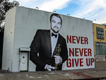 'Never, Never Give Up':  L.A. Street Artist Celebrates Leonardo DiCaprio's Big Oscar Win with Inspirational Mural