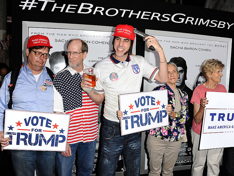 Sacha Baron Cohen Endorses Donald Trump in Character at The Brothers Grimsby Premiere: 'He's the Ultimate Football Hooligan'| Donald Trump, Movie News, Sacha Baron Cohen