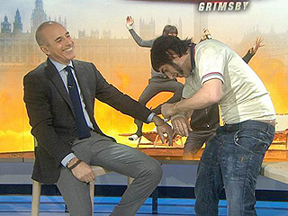 VIDEO: Sacha Baron Cohen Handcuffs Himself to a Reluctant Matt Lauer While in Costume as The Brothers Grimsby Character