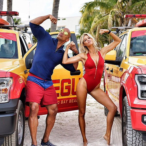 Dwayne Johnson and Kelly Rohrbach Get Baywatch-Ready in Those Iconic Red Swimsuits| Baywatch, David Hasselhoff, Dwayne ''The Rock'' Johnson