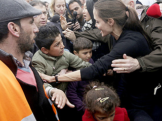 Angelina Jolie Pitt Warmly Greets Syrian Refugees in Greece After Lebanon Speech to 'Reinforce' Humanitarian Efforts