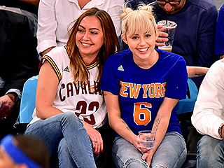 Miley Cyrus Flashes Engagement Ring at Knicks Game with Her Sister Brandi and Mom Tish