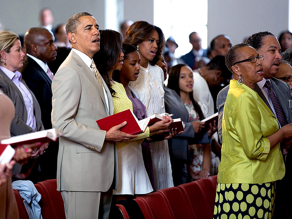 The Obamas Attend Easter Service at Historic Virginia Church