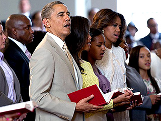 President Obama and First Family Spend Easter Service at Historic Church in Virginia