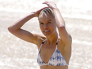 Blue Crush! Kate Bosworth Frolics on the Beach in a Blue and White Bikini During Hawaiian Vacation