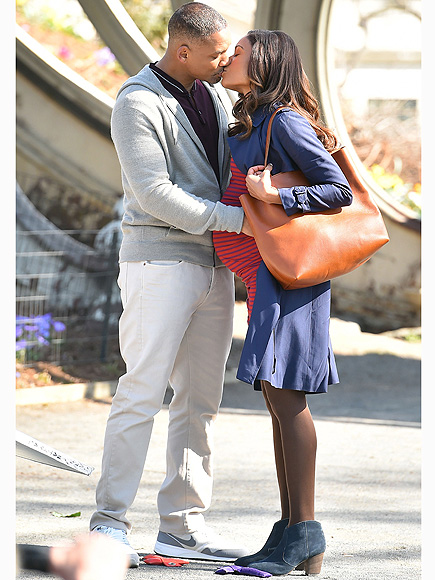 Will Smith Kisses Costar Naomie Harris on Collateral Beauty set