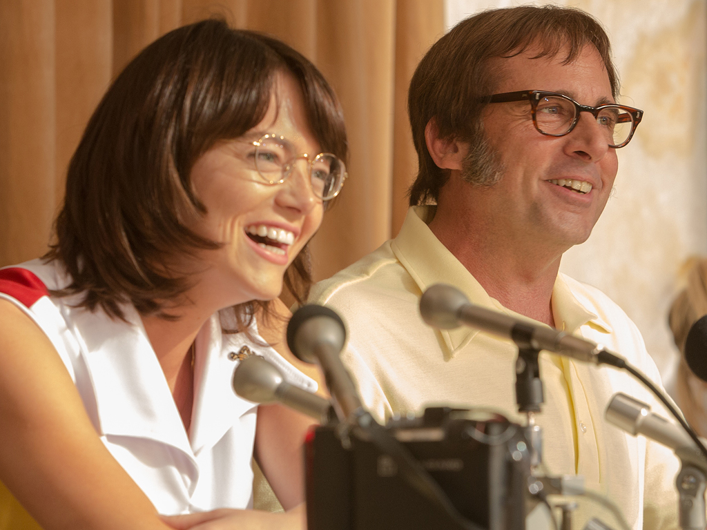 Emma Stone Looks Unrecognizable as Billie Jean King on the Set of Battle of the Sexes| Movie News, Billie Jean King, Bobby Riggs, Emma Stone, Steve Carell