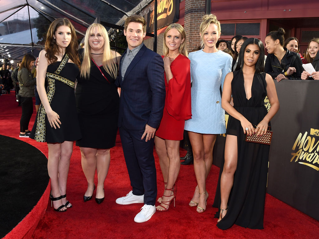 Pitch Perfect 2 Wins Best Ensemble at the MTV Movie Awards, Anna Kendrick Promises Trophy 'Is Going to Be Broken by the End of the Night'| MTV Movie Awards, Pitch Perfect, Adam DeVine, Anna Kendrick, Rebel Wilson