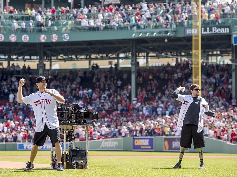 Jake Gyllenhaal and Boston Bombing Survivor Jeff Bauman Throw Out First Pitch at Fenway Park  Sports, Boston Marathon Bombing, Movie News, Jake Gyllenhaal