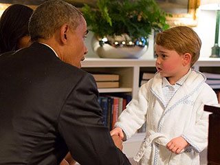 The George Effect! The Little Prince's Adorable Bathrobe Sells Out Within Minutes After Meeting with Obama