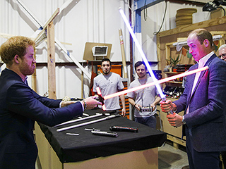 'We Can Do This Later Outside': Prince Harry (the 'Baddie') and Prince William Have Light Saber Duel!