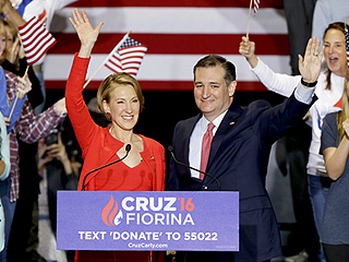 WATCH: Carly Fiorina Falls Off Stage at Ted Cruz Rally