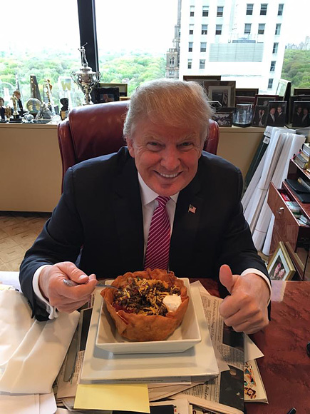 Happy Cinco de Mayo from Donald Trump: 'I Love Hispanics!' He Says with a $13.50 Trump Tower Taco Bowl