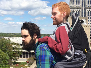 Man with Muscular Dystrophy Sets off for European Backpacking Trip on His Friends' Backs
