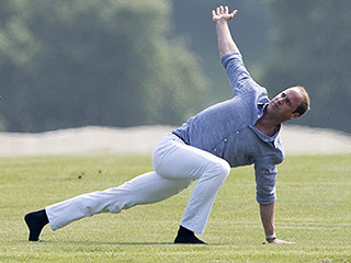 See Prince William Doing Yoga – in White Jeans!