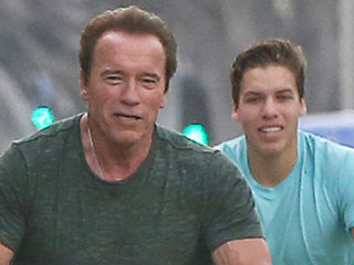Arnold Schwarzenegger and Lookalike Son Joseph Baena Enjoy Bike Ride Together in Venice