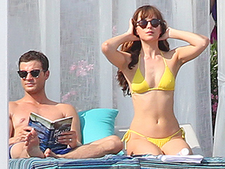 Fifty Shades of Yellow! Jamie Dornan and Dakota Johnson Hit the Beach While Filming Fifty Shades Freed