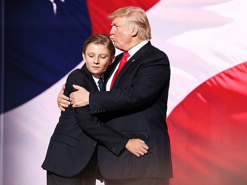 celebrity news barron trump couldnt stop yawning during donalds speech