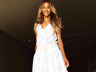 See Ciara's Gorgeous, Boho Lace Rehearsal Dinner Gown (and Her Son's Cute Custom Look!)