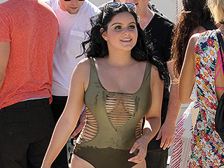 Ariel Winter Escapes the Summer Heat in a Strappy One-Piece Swimsuit