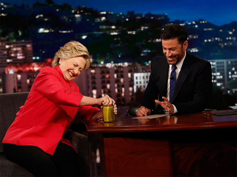 Hillary Clinton Laughs Off Health Rumors by Opening a Jar of Pickles on Jimmy Kimmel| 2016 Presidential Elections, Jimmy Kimmel Live, Hillary Rodham Clinton, Jimmy Kimmel