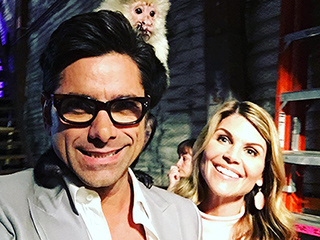 John Stamos and Lori Loughlin Monkey Around on Fuller House Set