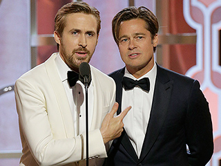 All the Important Faces Ryan Gosling and Brad Pitt Made On-stage at the Globes