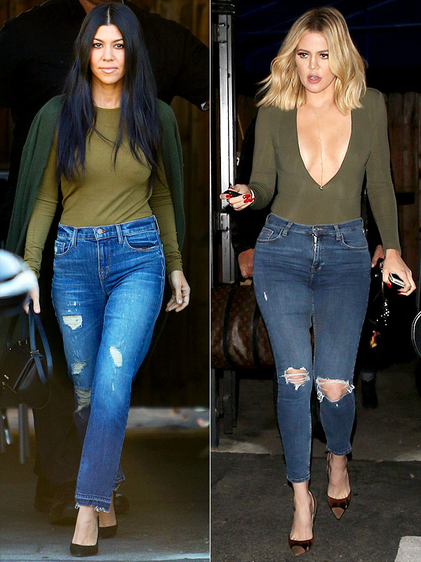 Khloe and Kourtney Wearing Same Outfit