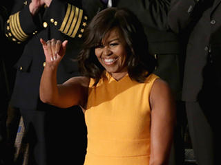 Michelle Obama Steals the Spotlight in a $2,000 Marigold Narciso Rodriguez Dress at State of the Union Address